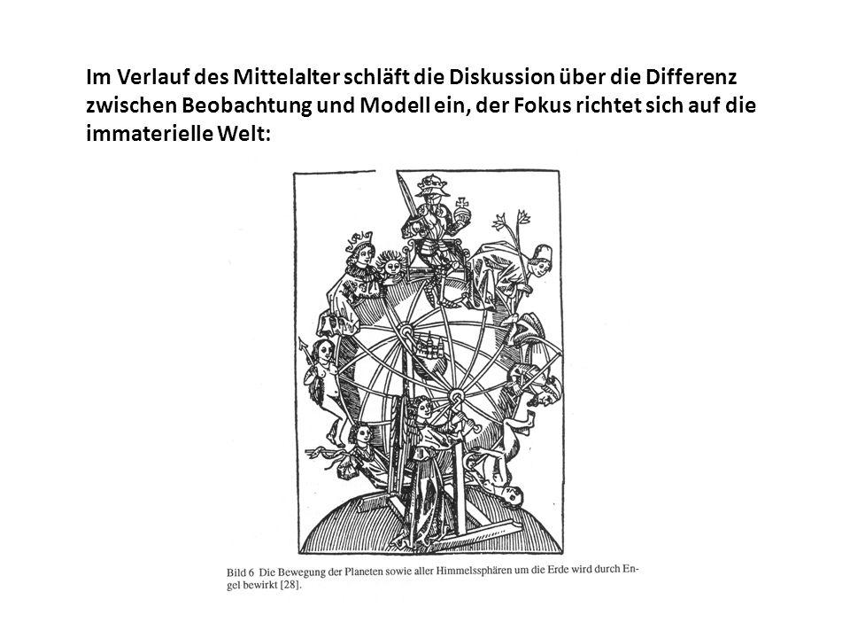 Im Verlauf des Mittelalter schläft die Diskussion über die Differenz zwischen Beobachtung und Modell ein, der Fokus richtet sich auf die immaterielle Welt: