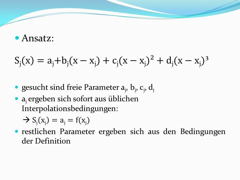 Sj x =aj+bj(x−xj)+cj(x−xj)²+dj(x−xj)³