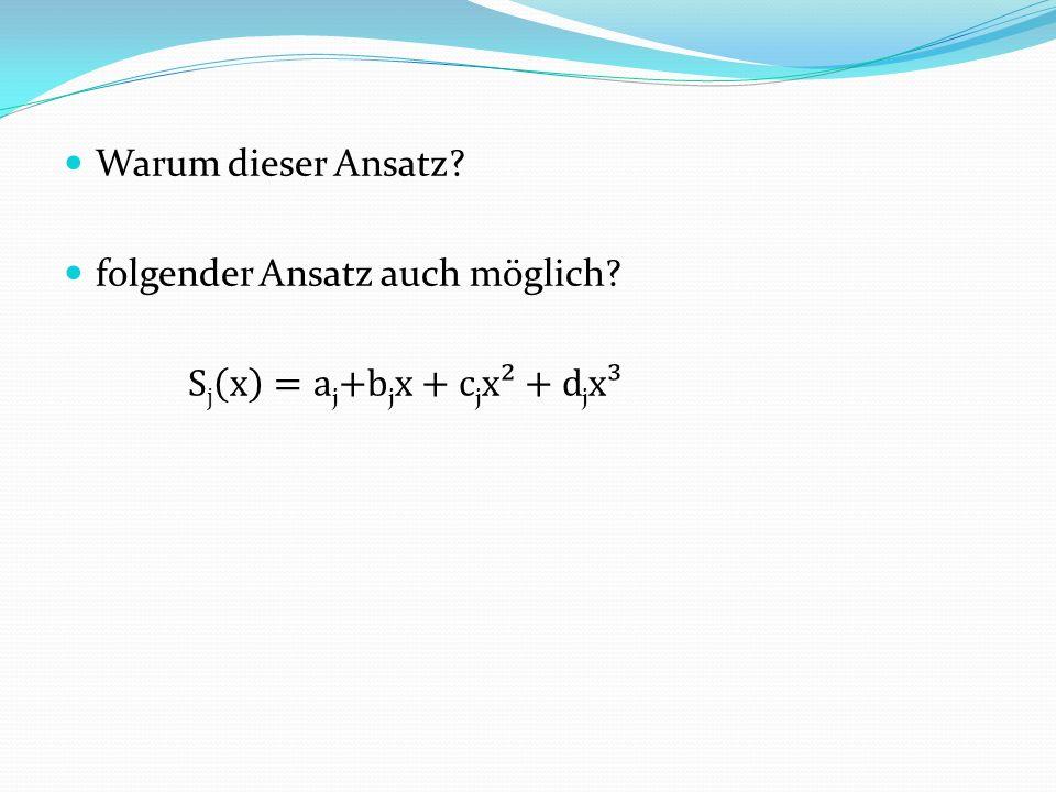 Warum dieser Ansatz folgender Ansatz auch möglich Sj x =aj+bjx+cjx²+djx³