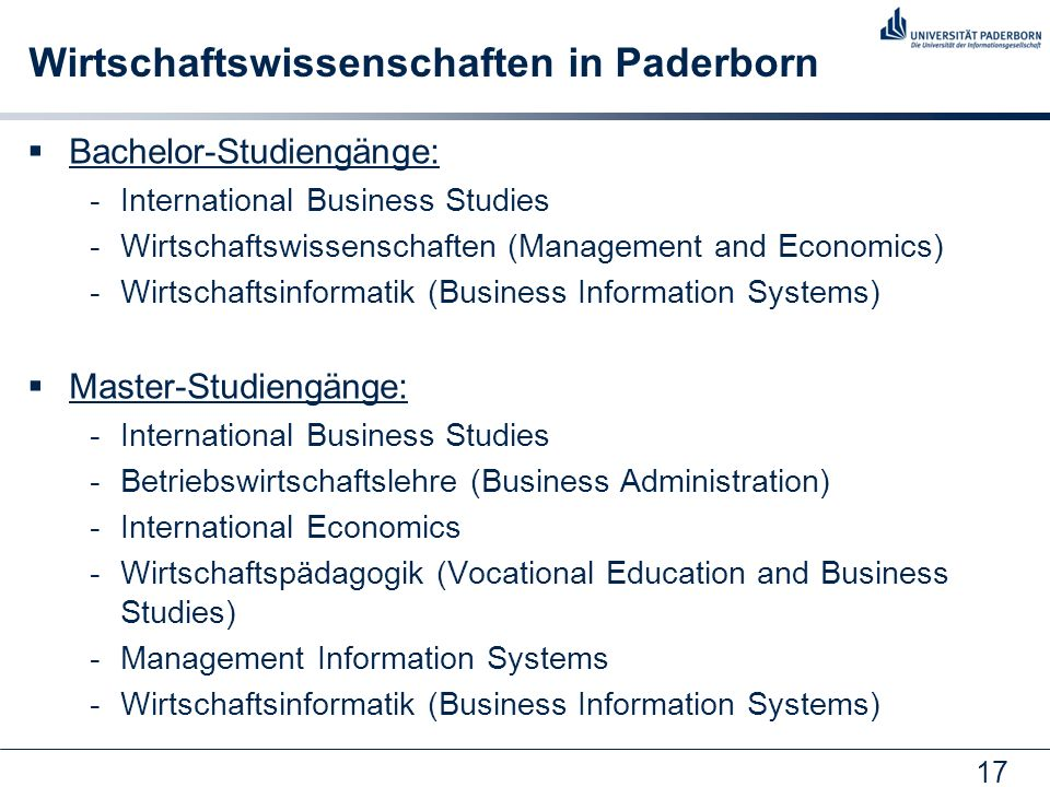 Wirtschaftswissenschaften in Paderborn