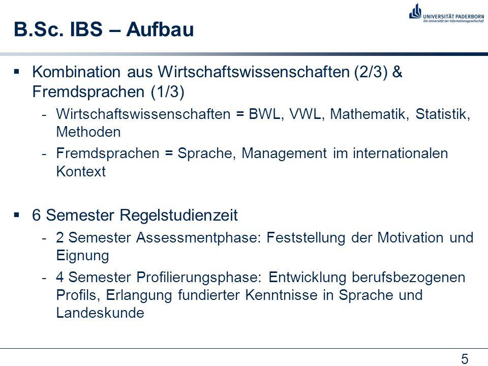 B.Sc. IBS – Aufbau Kombination aus Wirtschaftswissenschaften (2/3) & Fremdsprachen (1/3)
