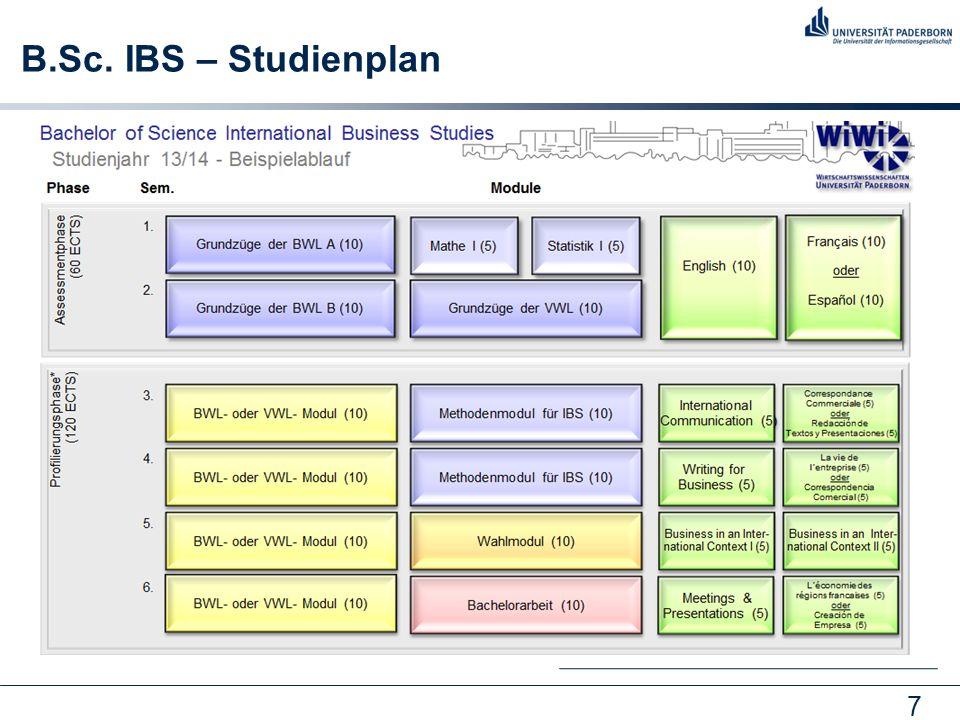 B.Sc. IBS – Studienplan Studienplan: nur Beispielverlauf, Variation möglich. 1 ECTS = 30 Arbeitsstunden (Anwesenheit und Vor- und Nachbereitung)