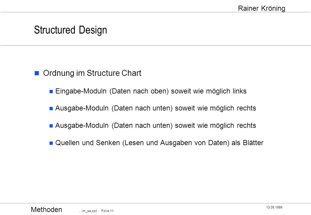 Structured Design Ordnung im Structure Chart