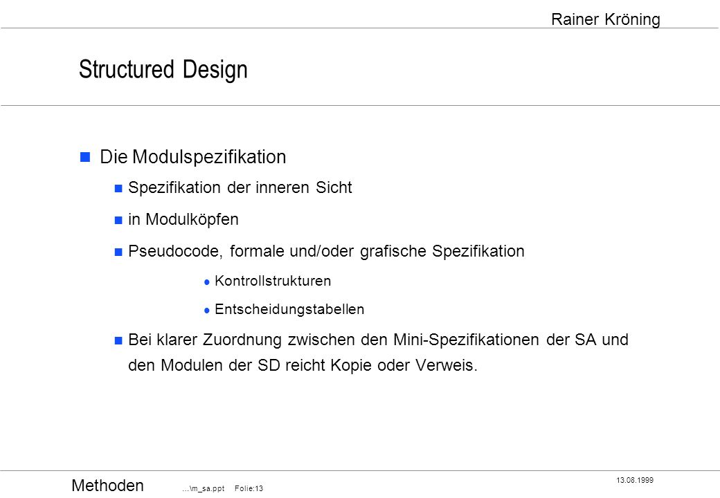 Structured Design Die Modulspezifikation