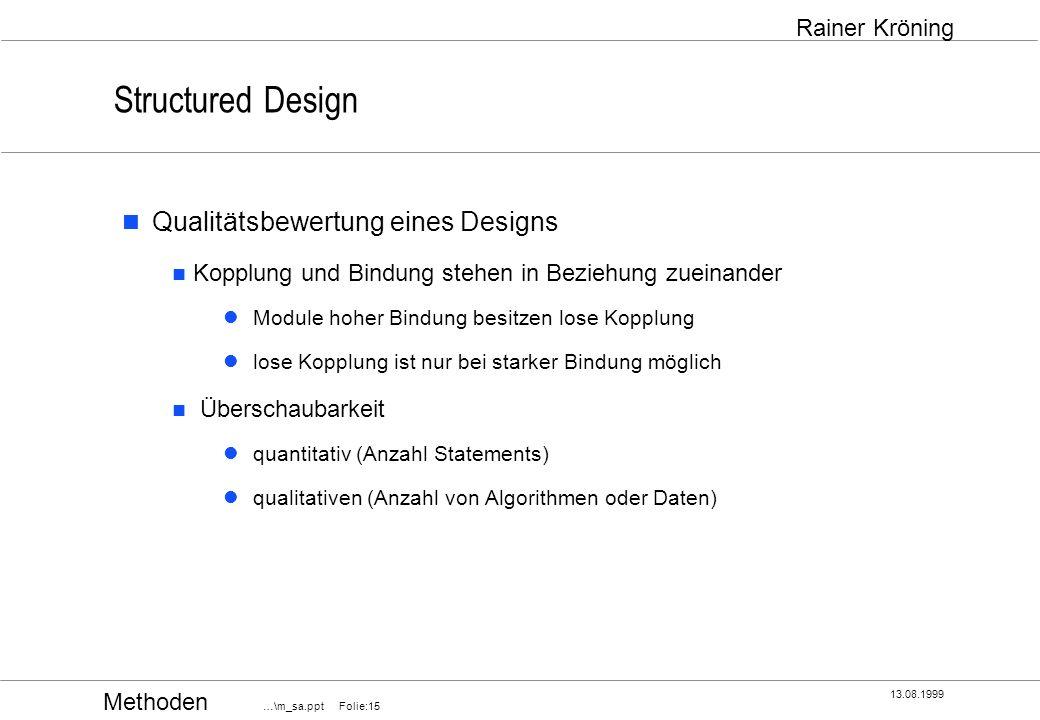 Structured Design Qualitätsbewertung eines Designs
