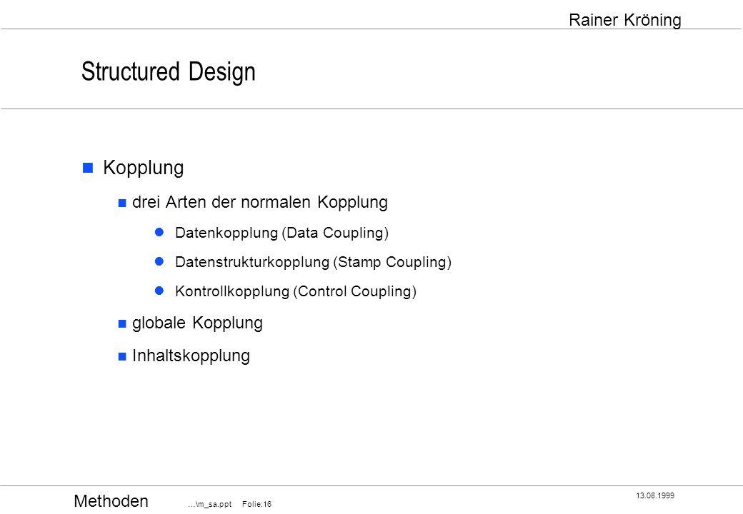 Structured Design Kopplung drei Arten der normalen Kopplung
