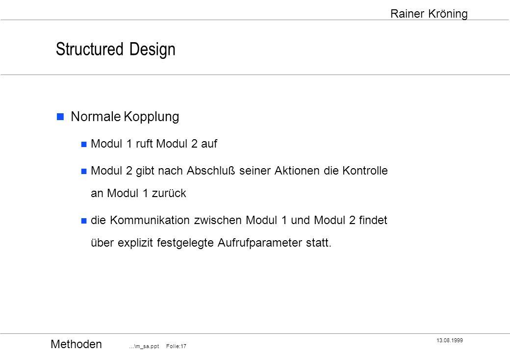 Structured Design Normale Kopplung Modul 1 ruft Modul 2 auf