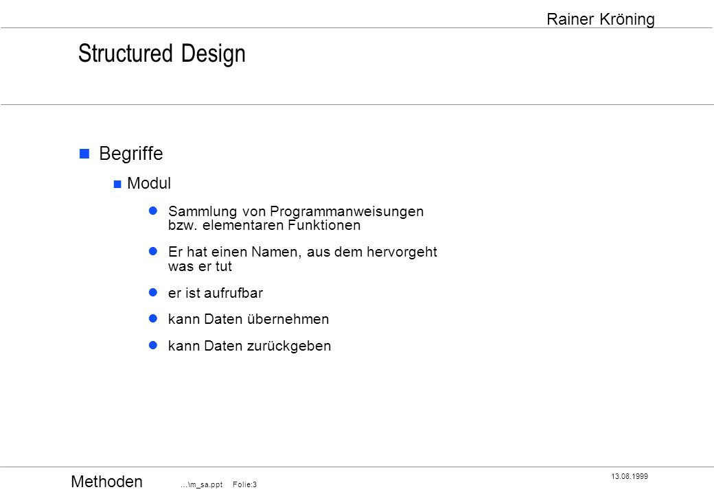 Structured Design Begriffe Modul