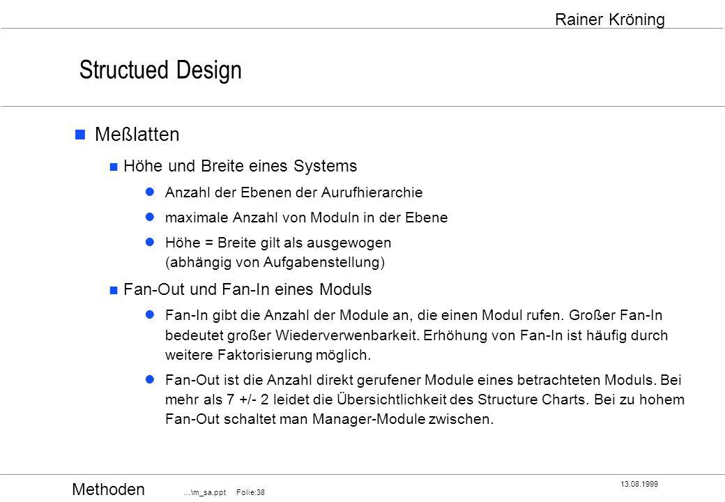 Structued Design Meßlatten Höhe und Breite eines Systems