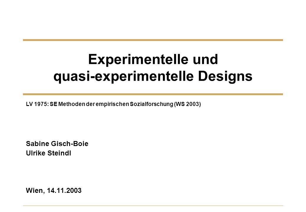 Experimentelle und quasi-experimentelle Designs