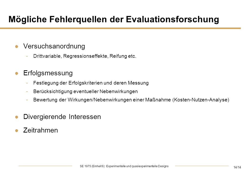 Mögliche Fehlerquellen der Evaluationsforschung