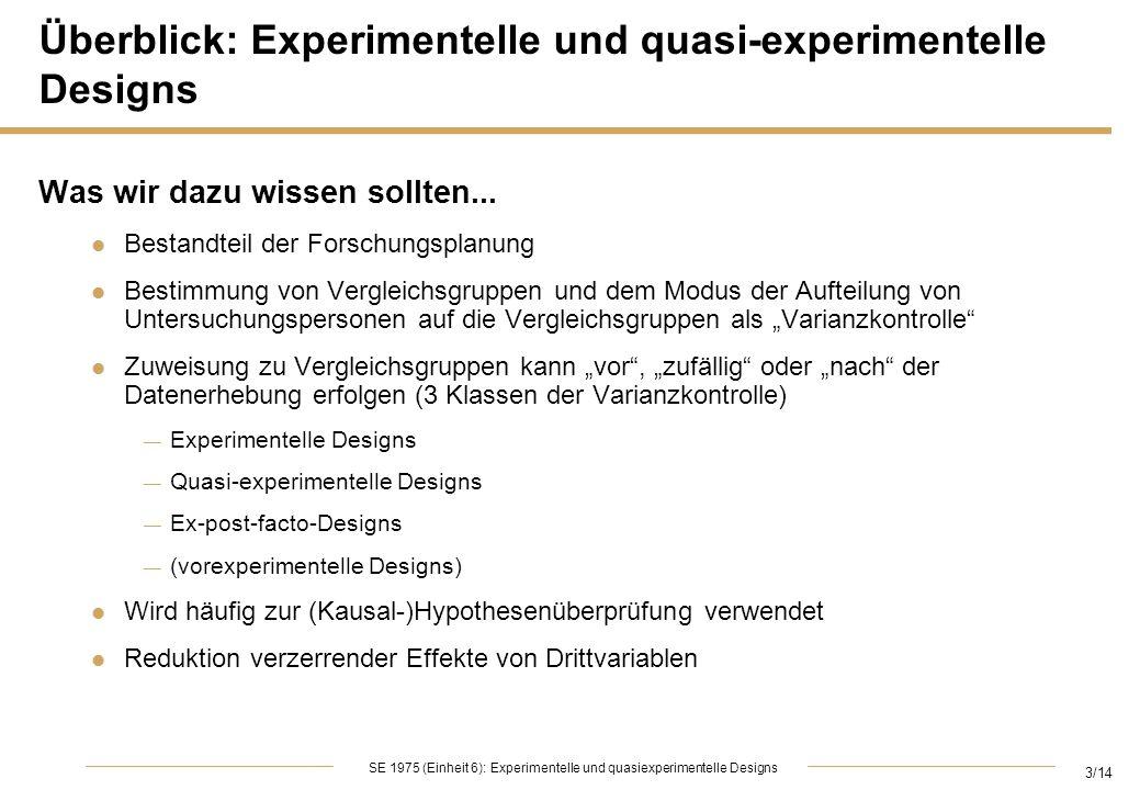 Überblick: Experimentelle und quasi-experimentelle Designs