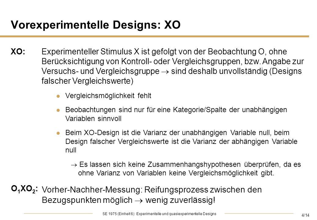 Vorexperimentelle Designs: XO