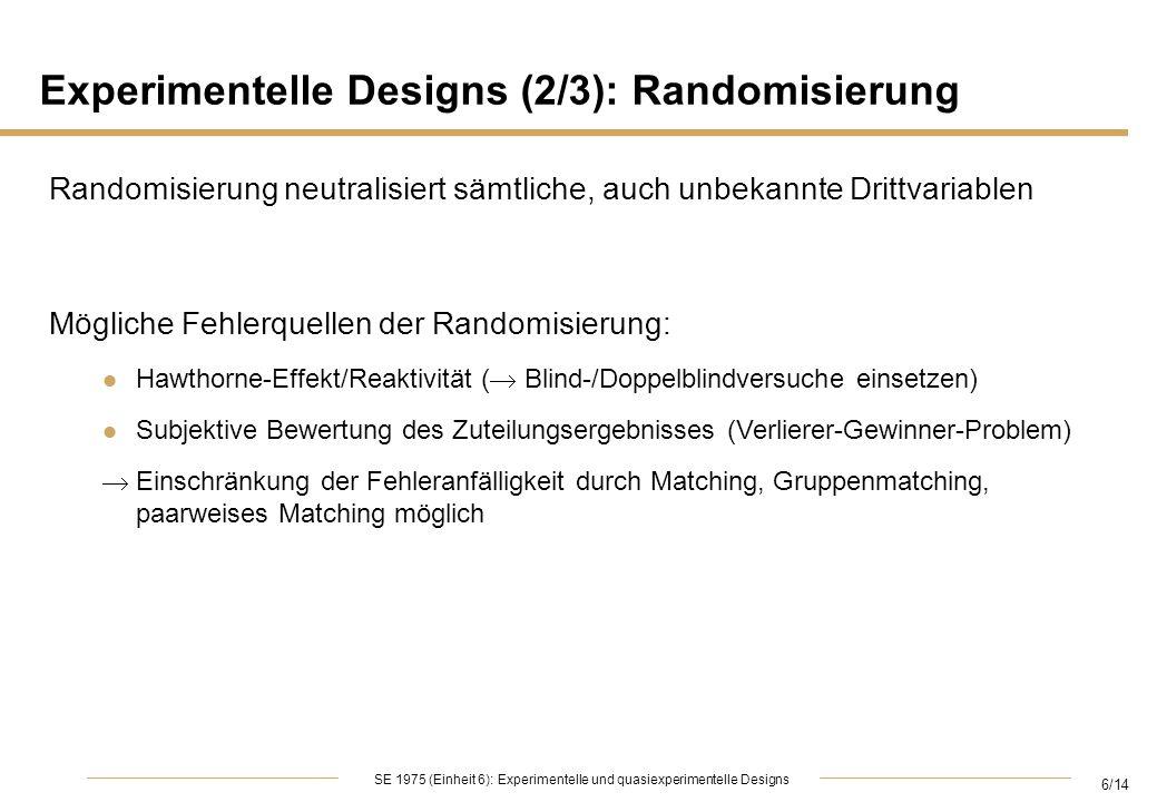 Experimentelle Designs (2/3): Randomisierung