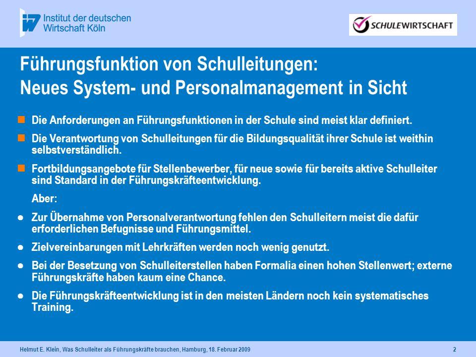 31.03.2017 Führungsfunktion von Schulleitungen: Neues System- und Personalmanagement in Sicht.