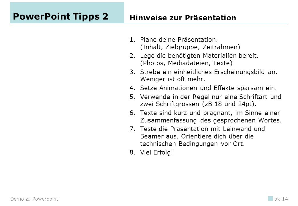 PowerPoint Tipps 2 Hinweise zur Präsentation