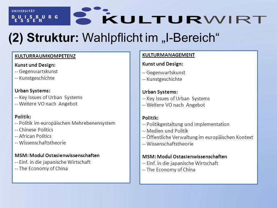"""(2) Struktur: Wahlpflicht im """"I-Bereich"""