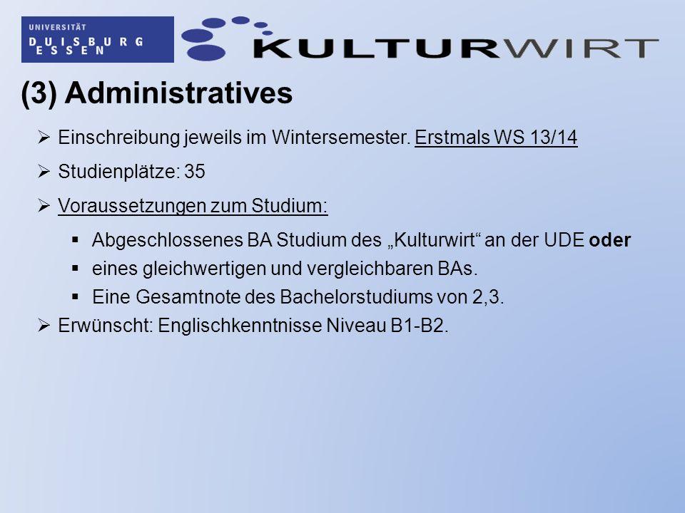 (3) Administratives Einschreibung jeweils im Wintersemester. Erstmals WS 13/14. Studienplätze: 35.