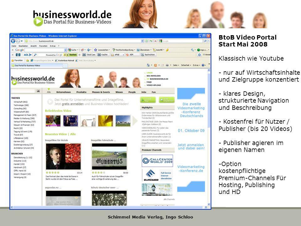 BtoB Video Portal Start Mai 2008. Klassisch wie Youtube. - nur auf Wirtschaftsinhalte. und Zielgruppe konzentiert.