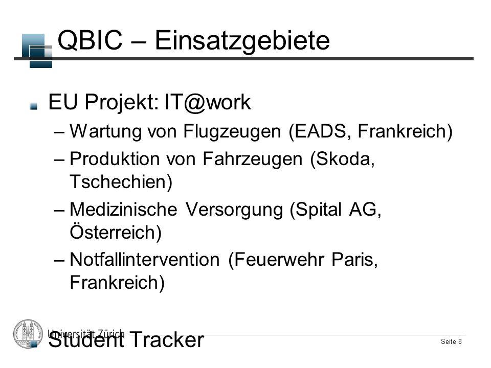 QBIC – Einsatzgebiete EU Projekt: IT@work Student Tracker