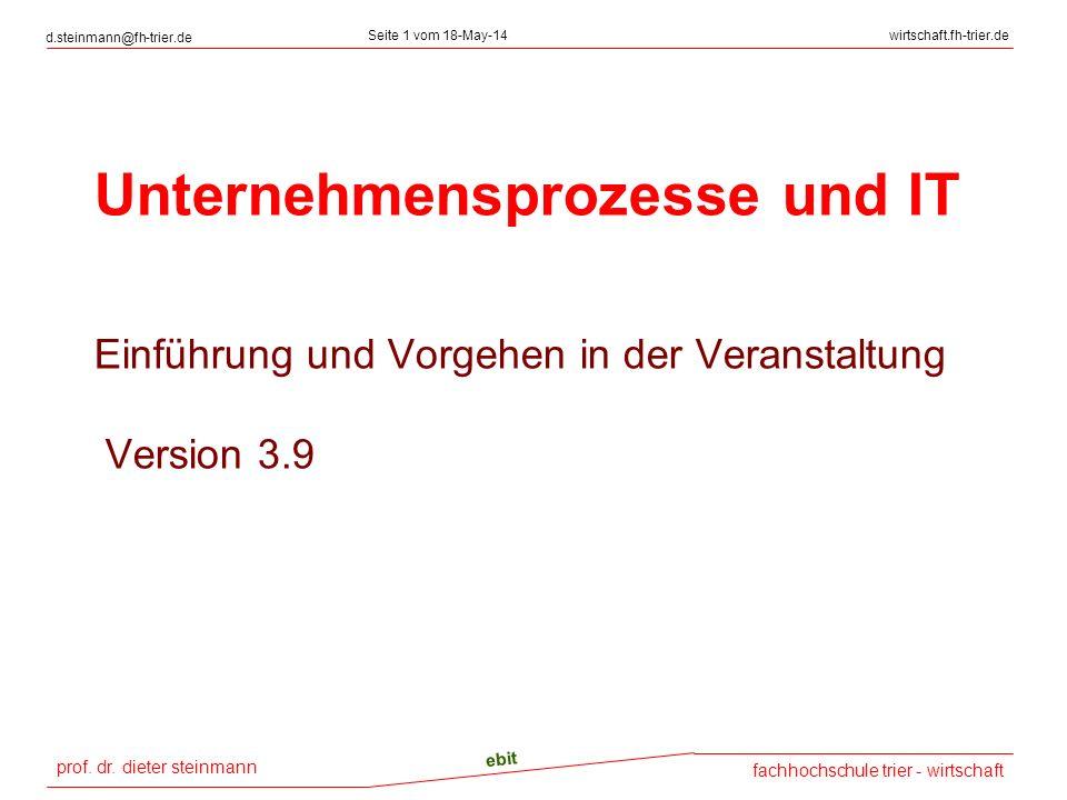 Unternehmensprozesse und IT Einführung und Vorgehen in der Veranstaltung Version 3.9
