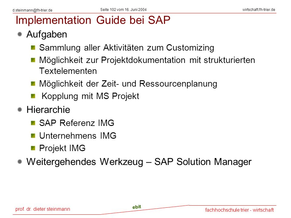Implementation Guide bei SAP