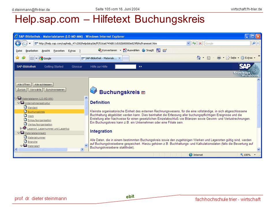 Help.sap.com – Hilfetext Buchungskreis