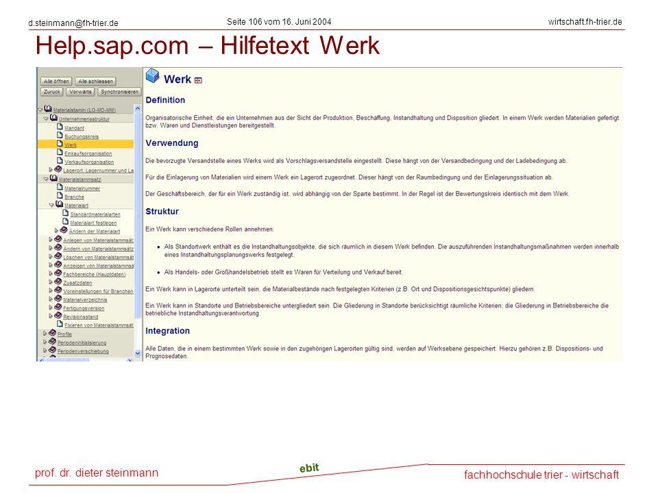 Help.sap.com – Hilfetext Werk