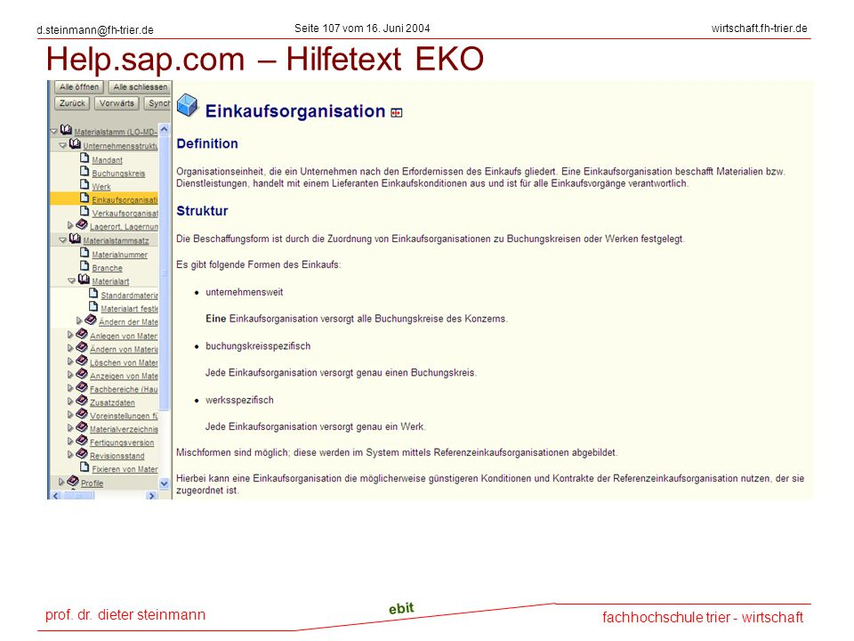Help.sap.com – Hilfetext EKO
