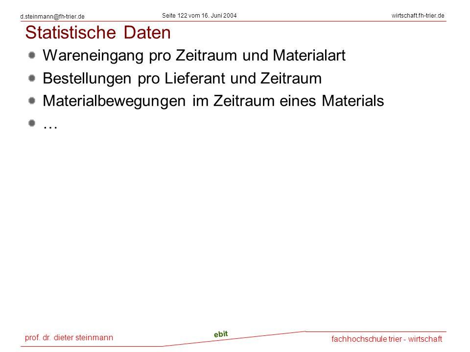 Statistische Daten Wareneingang pro Zeitraum und Materialart