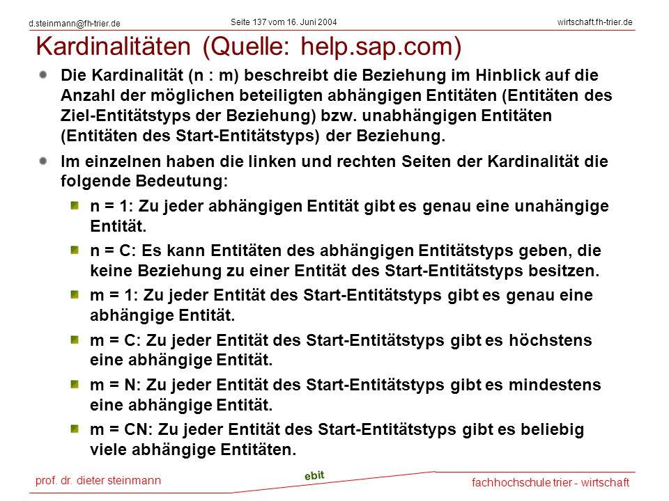 Kardinalitäten (Quelle: help.sap.com)