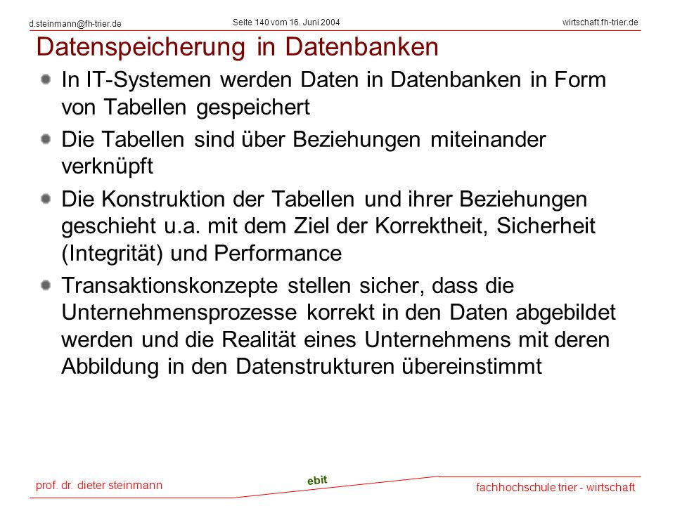 Datenspeicherung in Datenbanken