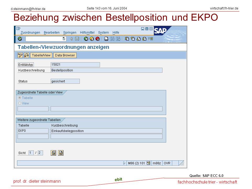 Beziehung zwischen Bestellposition und EKPO