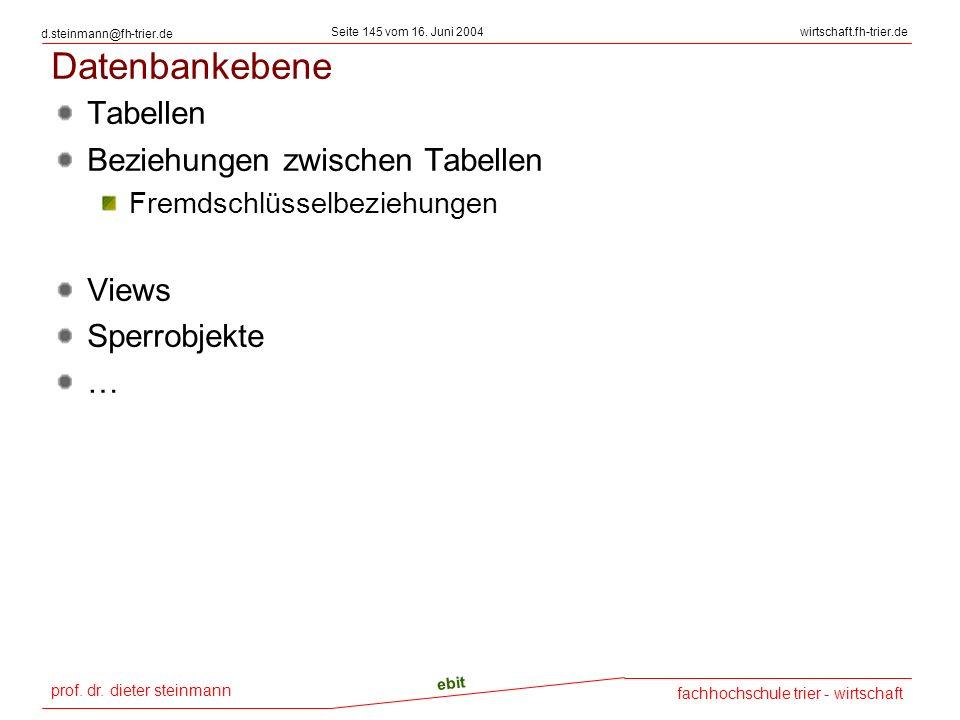 Datenbankebene Tabellen Beziehungen zwischen Tabellen Views