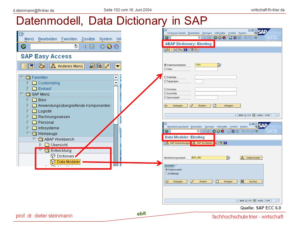 Datenmodell, Data Dictionary in SAP