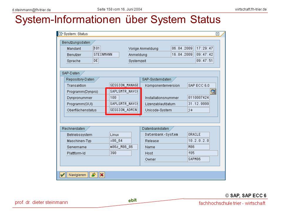 System-Informationen über System Status