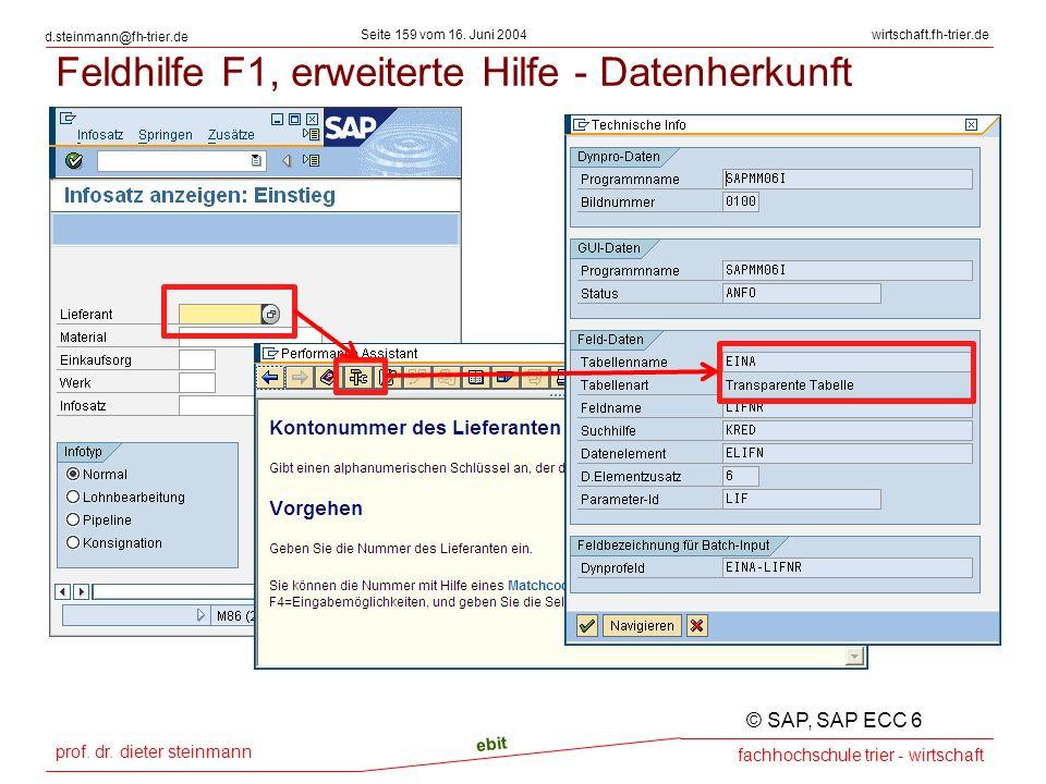 Feldhilfe F1, erweiterte Hilfe - Datenherkunft