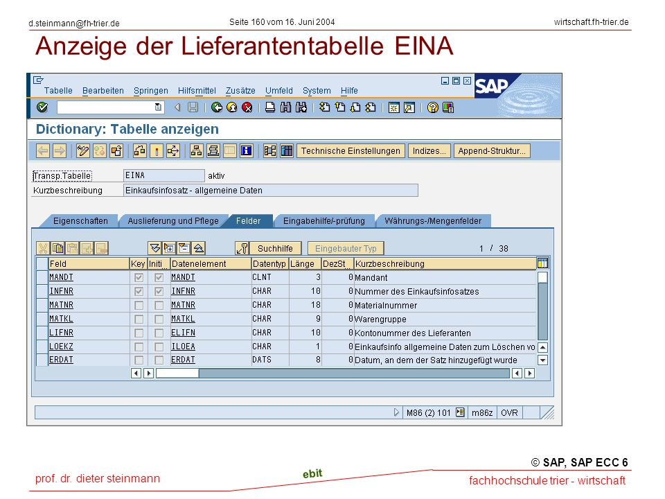 Anzeige der Lieferantentabelle EINA