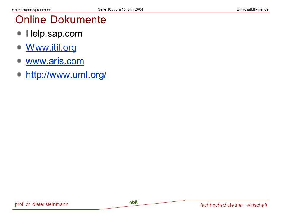 Online Dokumente Help.sap.com Www.itil.org www.aris.com
