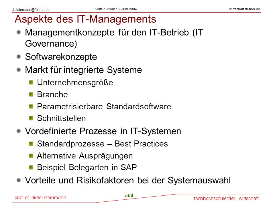 Aspekte des IT-Managements