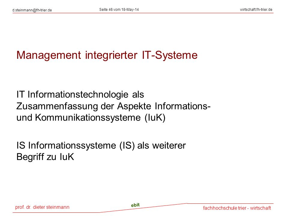 Management integrierter IT-Systeme