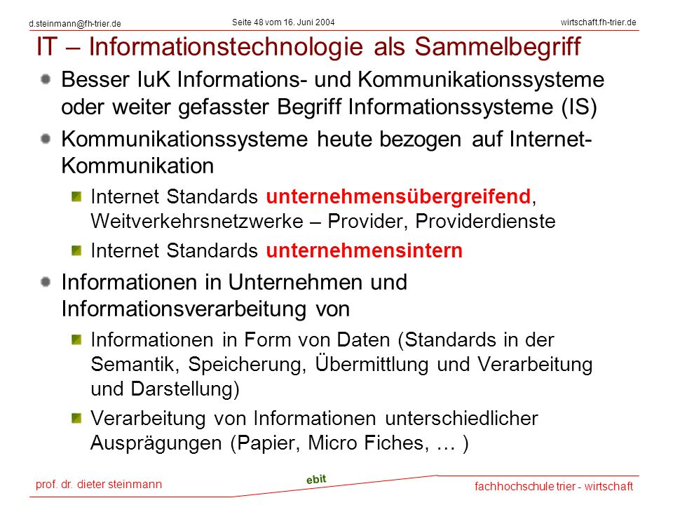 IT – Informationstechnologie als Sammelbegriff