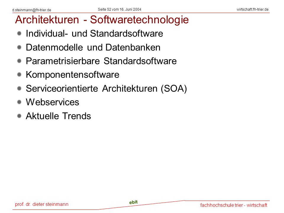 Architekturen - Softwaretechnologie