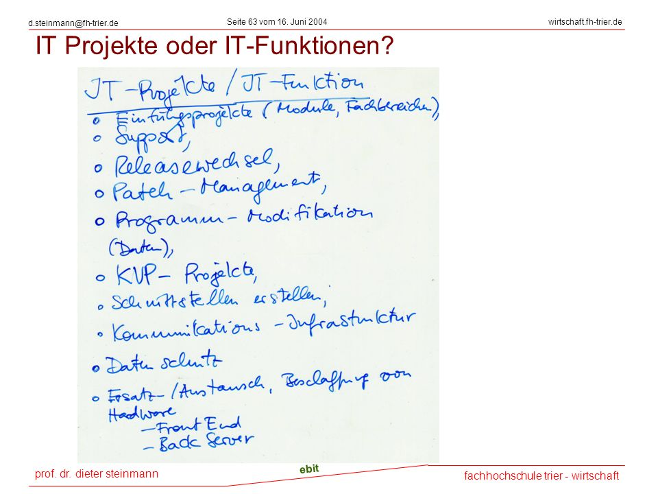 IT Projekte oder IT-Funktionen