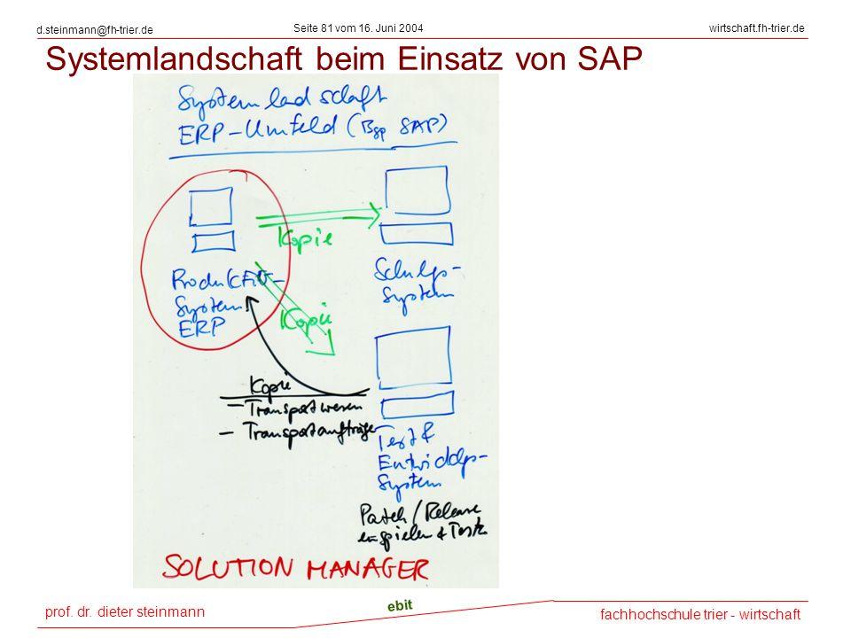Systemlandschaft beim Einsatz von SAP