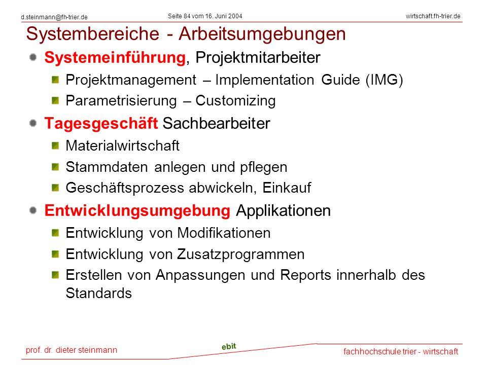Systembereiche - Arbeitsumgebungen