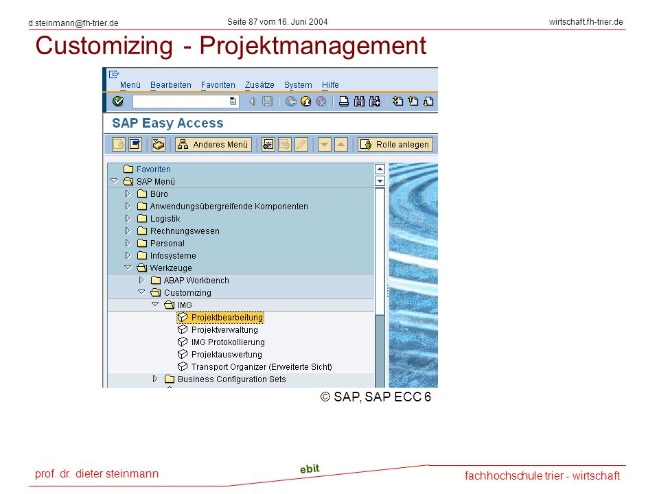 Customizing - Projektmanagement