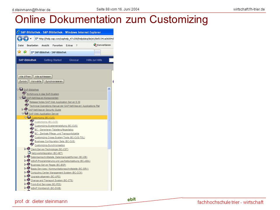 Online Dokumentation zum Customizing