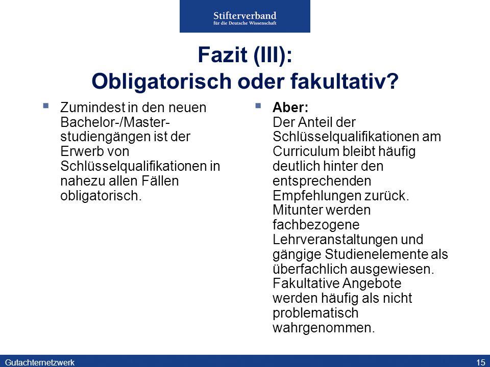 Fazit (III): Obligatorisch oder fakultativ