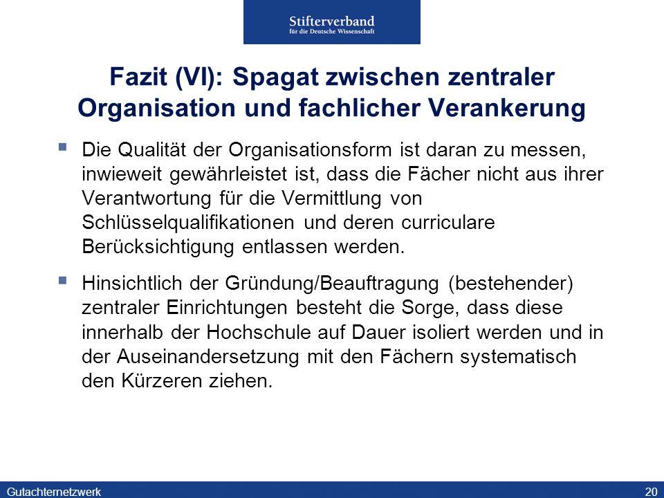 Fazit (VI): Spagat zwischen zentraler Organisation und fachlicher Verankerung